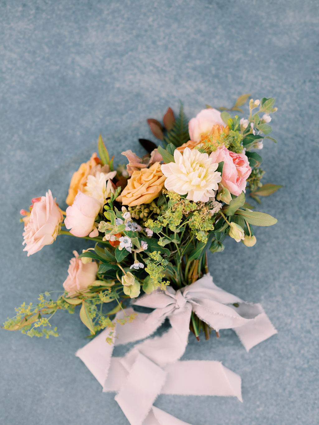 Peach and pink wedding bouquet: Ethereal Wedding Inspiration at The White Sparrow