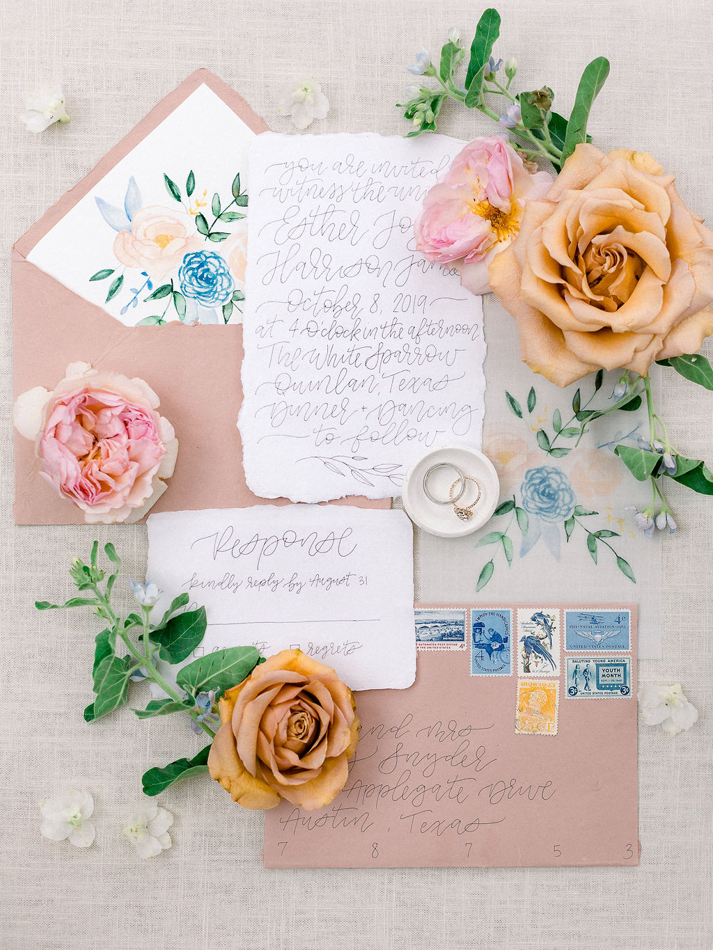 Calligraphy wedding stationery: Ethereal Wedding Inspiration at The White Sparrow