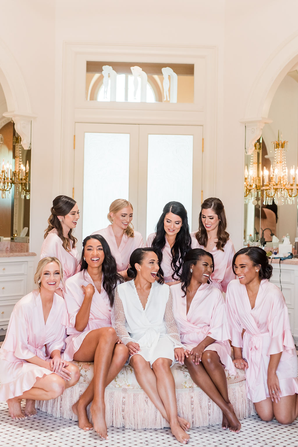 Pink bridal party getting ready robes