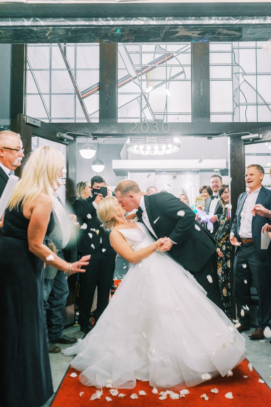 Classic wedding exit