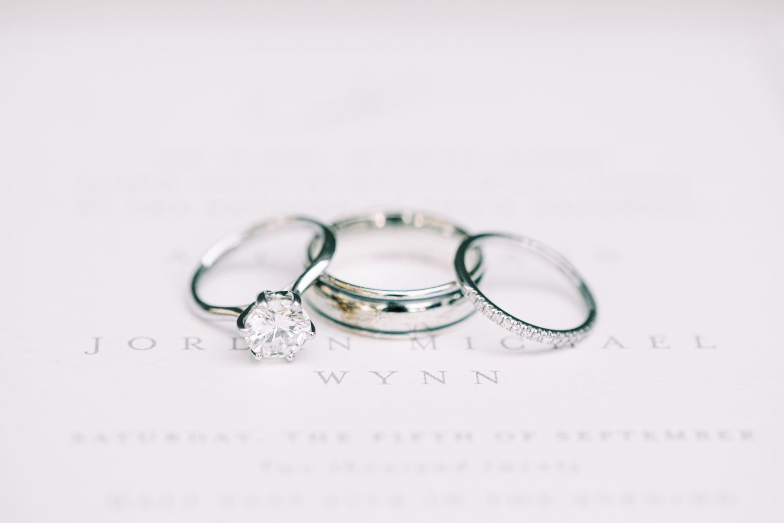 White gold wedding and engagement rings