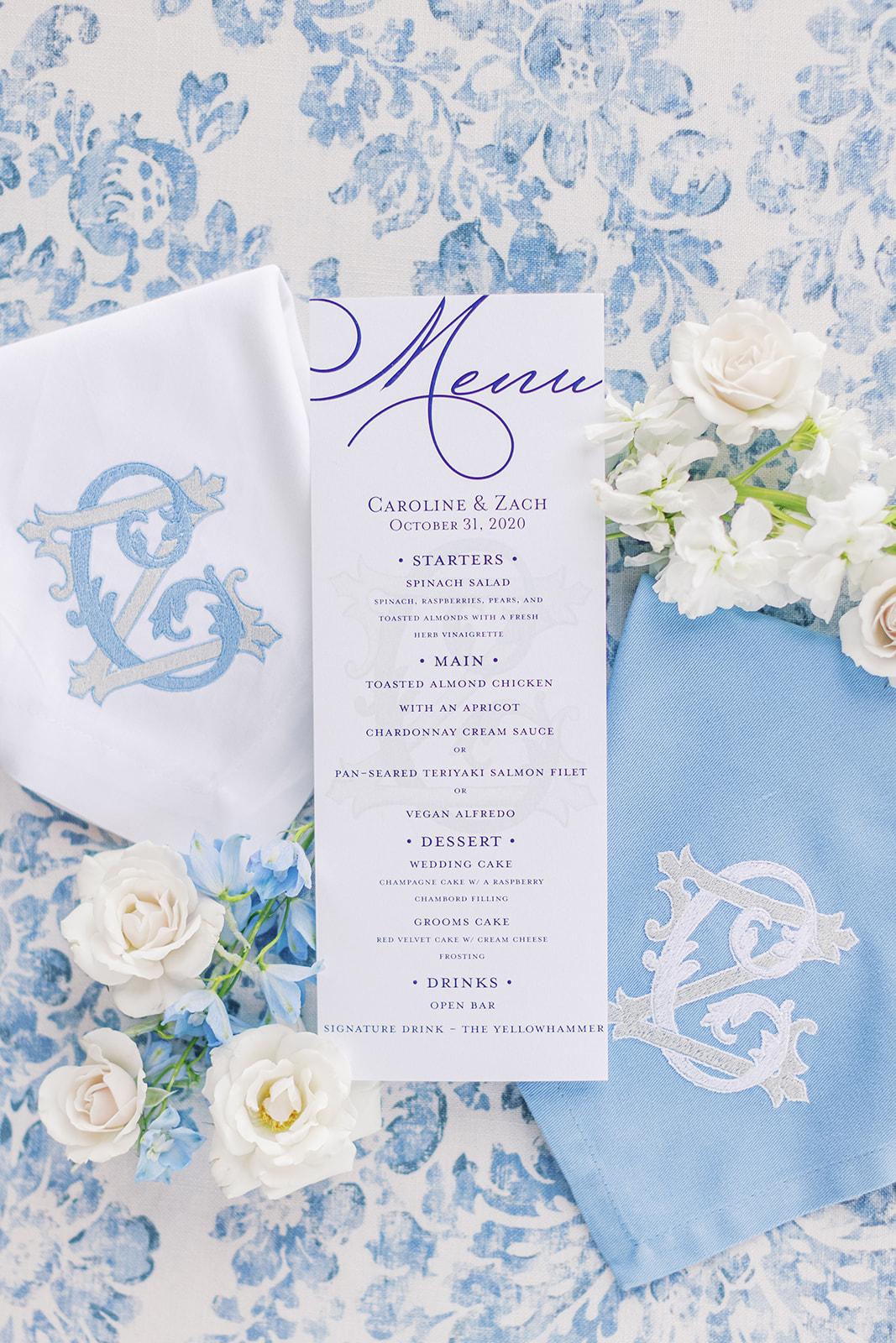 Paper Affair Dallas wedding menu design