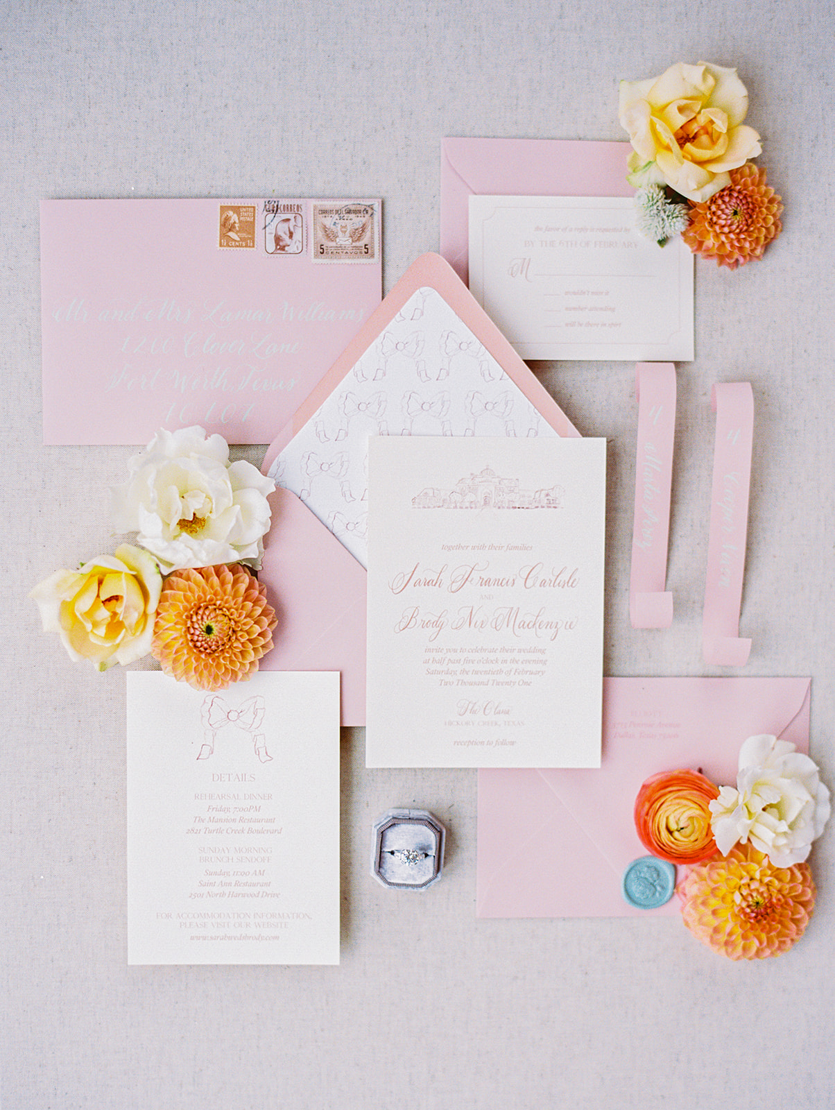 Ladybird Paper Co. Pink and White Wedding Invitation Suite | Alexa Kay Events