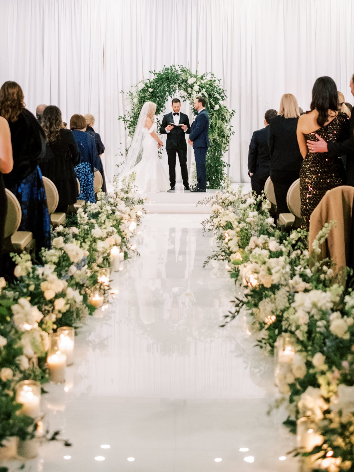 Floral lined wedding ceremony aisle | New Years Eve Wedding | Winter wedding decor | Alexa Kay Events
