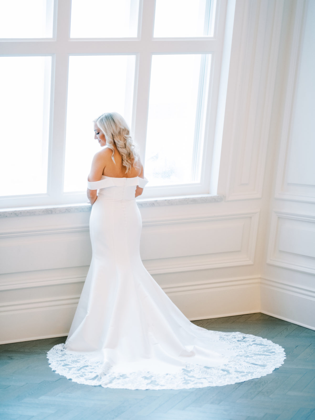 Off the shoulder fit and flare wedding dress | Alexa Kay Events