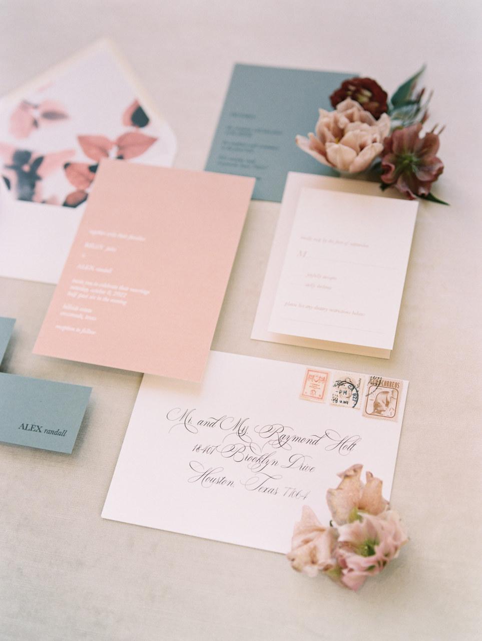 Blush and blue wedding stationery design