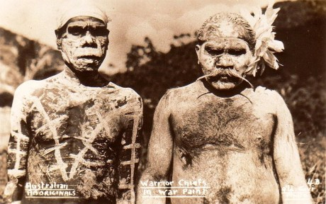 A photo of Aboriginal warriors, circa 1940, in traditional war paint.