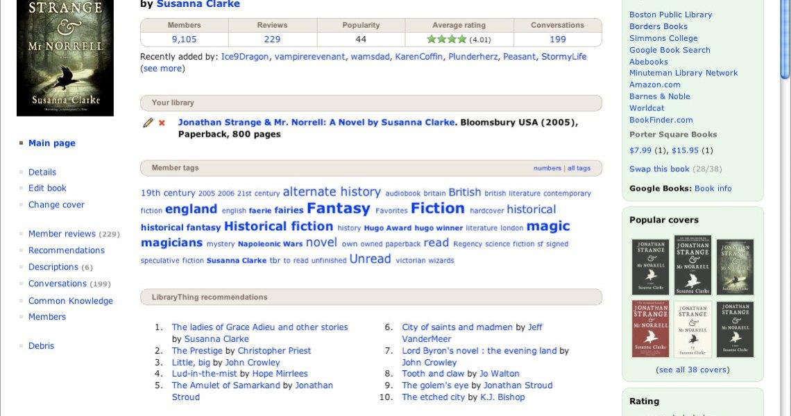 Librarything, Screenshot