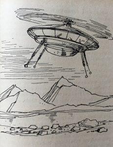 """Mit dem Ringflügler legen die AUßerirdischen große Entfernungen auf der historischen Erde zurück - """"Der blaue Planet"""" - Carlos Rasch - Illustration: Hans Räde"""