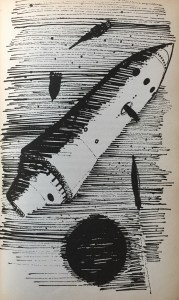 Zubringerraketen versorgen das Großraumschiff auf der Außenreede des Mondes - Günther Krupkat - Illustration: Martin Kotsch