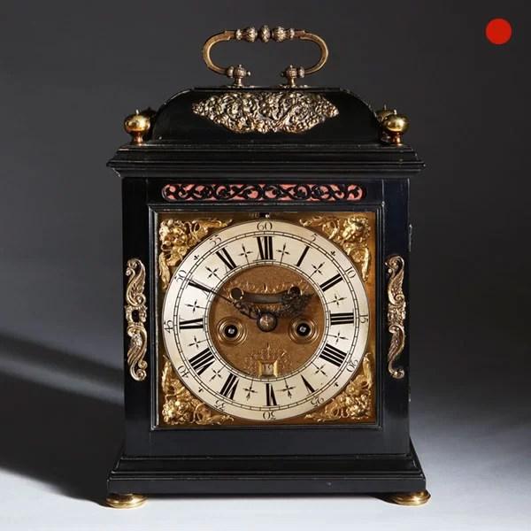 William and Mary Ebony Veneered Bracket Clock by Johnathan Lowndes