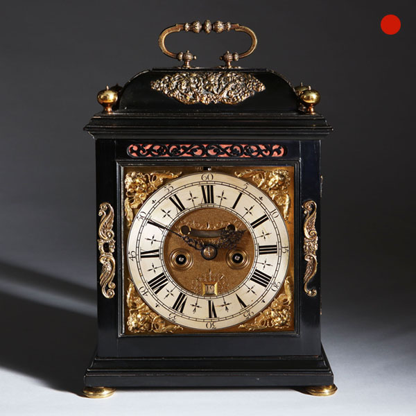 William and Mary Ebony Veneered Bracket Clock by Johnathan Lowndes