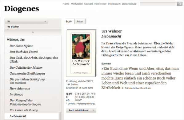Website Diogenes-Verlag