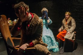 "Eben Hoffer, Emily Marro, and Nathaniel Basch-Gould in ""Il Regno Malati at Dinner"" photo by Bailey Carr"