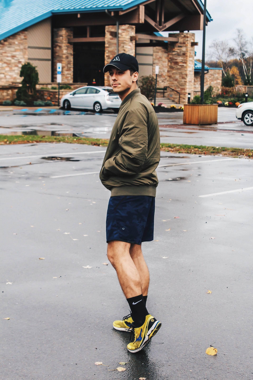 mike walking to gym