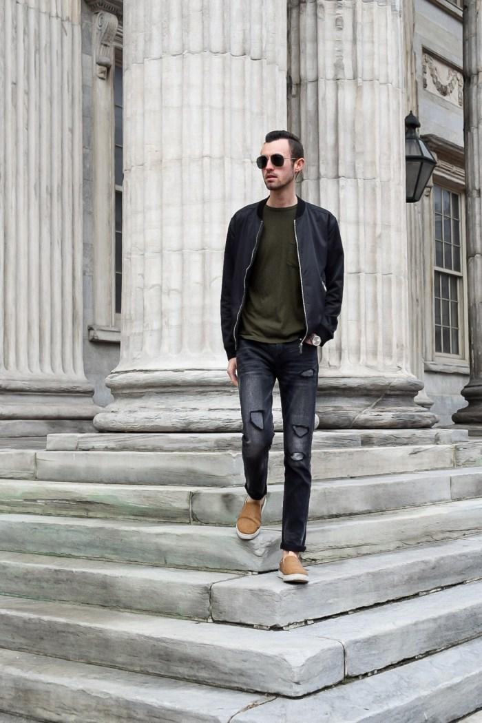 alex walking down steps street style