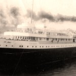 "Vintage Photo: back: ""The sister ship S.S. Noronic pulling out from dock at the Soo."