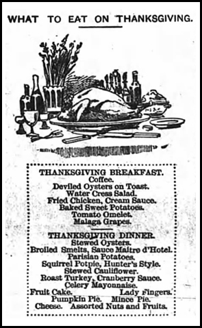 """1888. The Sun and the Erie County Independent Newspaper, Hamburg, New York """"What to Eat on Thanksgiving"""""""