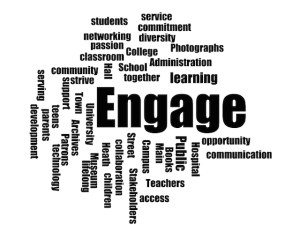 Image of Engage word cloud used for Maine Library Association Conference 2015
