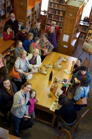 "Photo of book signing for ""Thérèse Makes a Tapestry"" in Princeton, MA"