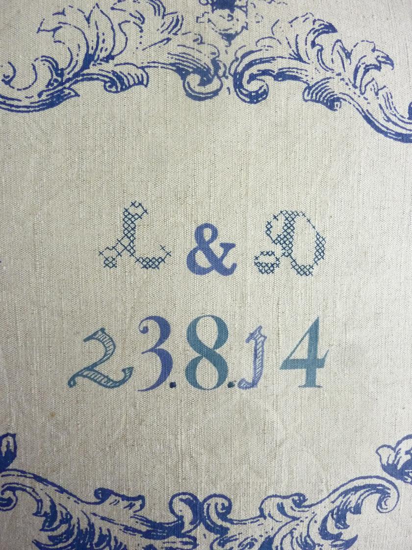 Detail, Kissen für ein Hochzeitspaar