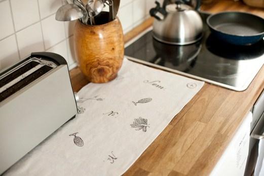 Tischläufer handgewebtes LeinenMotiv Arkadien