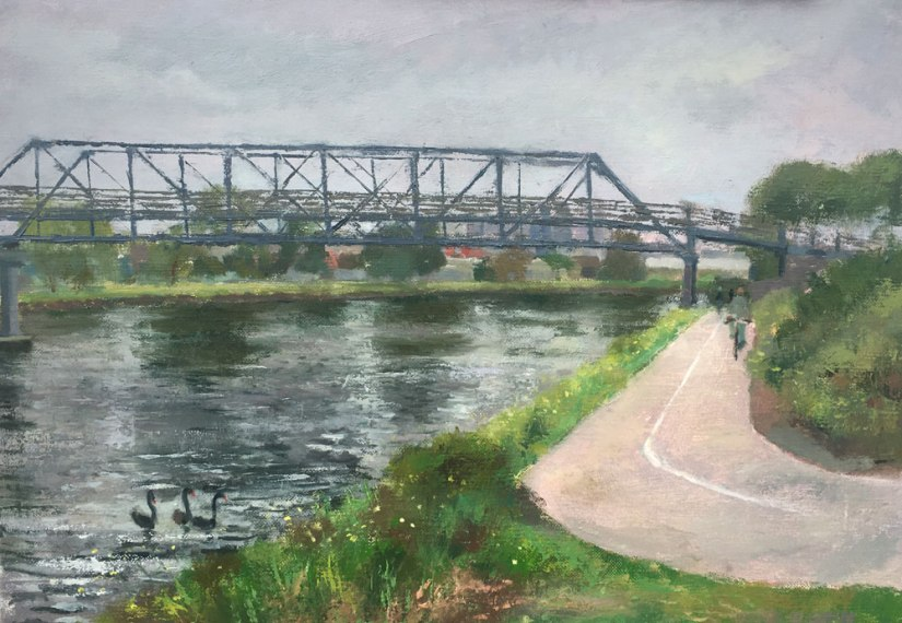 painting of bike track next to Maribyrnong River Melbourne