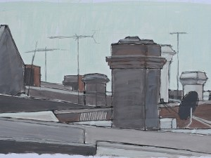 Rooftops behind Parramatta Road shops, Stanmore 2011 pen & black ink, oil on paper 30 x 48.5