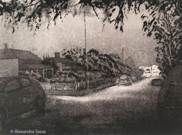 Johnson St Hawthorn by Alexandra Sasse. Etching
