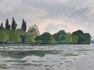Mark Dober watercolour Thames landscape (Summer,afternoon,Mortlake)2