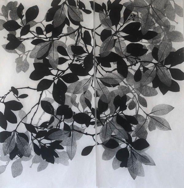 Helen Mueller woodblock print of mangrove leaves calledRemembering the Fallen