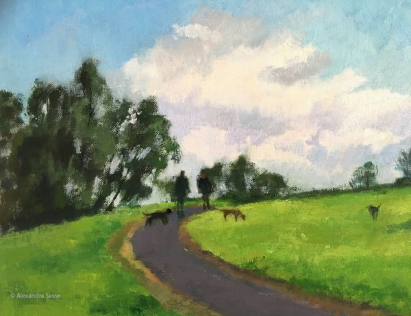 Painting of dogs in Studley Park by Alexandra Sasse