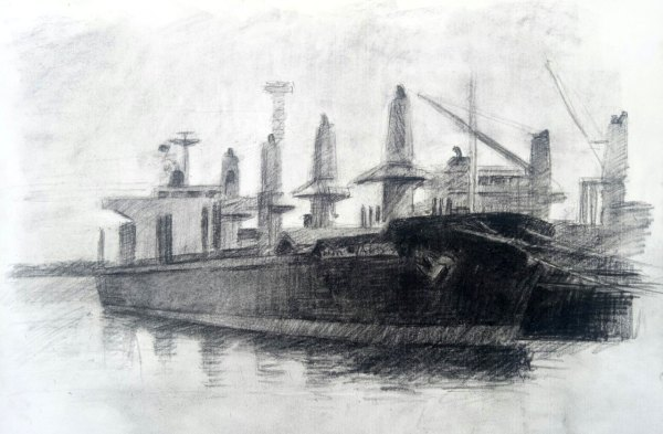 Drawing by Evan Salmon 'Docked ship (Port Kembla Harbour)'