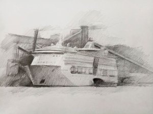 Cruise ship in Port Kembla Harbour (during COVID-19), 2020, graphite on cartridge paper, 29 x 38cm