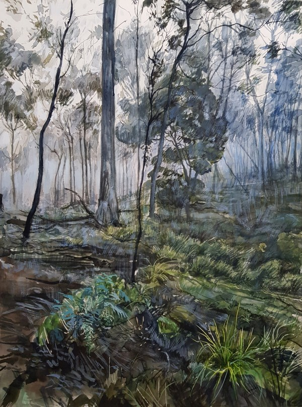 Watercolour painting 'Forest mystification' Phillip Edwards 2021