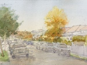 Watercolour painting by Alexandra Sasse 'Autumn in Hawthorn'