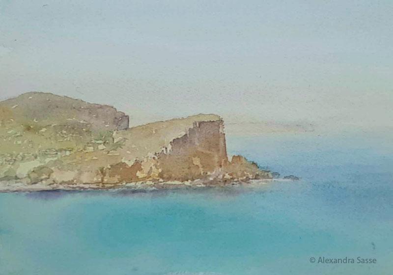 Alexandra Sasse watercolour painting Avalon Headland