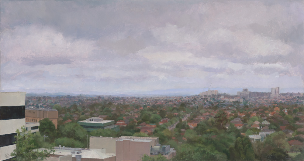 Australian Landscape Painting 'Doncaster from Box Hill' Alexandra Sasse 46 x 81cm