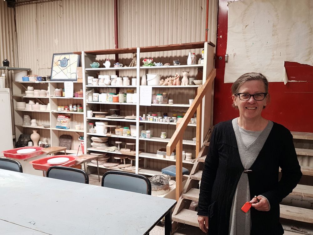 Committee member Kate in the Ceramics room at Arc Yinnar