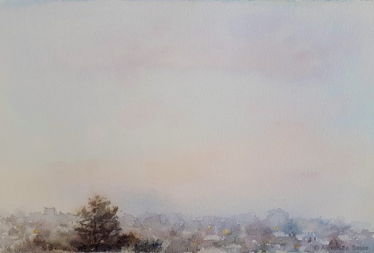 Morning Fog watercolour painting by Alexandra Sasse
