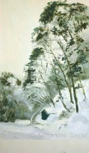 Australian Landscape Painting 'Snowgums' Alexandra Sasse 31 x 19cm