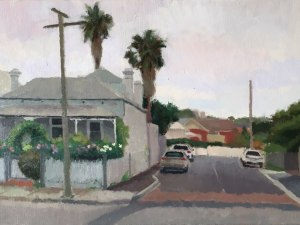 Alexandra Sasse painting of the corner house Hawthorn