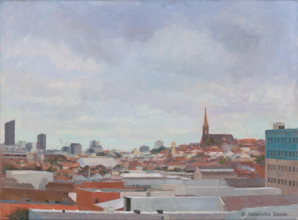 Australian Landscape Painting 'Winter light on Richmond' Alexandra Sasse 50 x 67cm