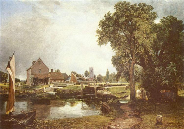 'Dedham Lock and Mill' 1822 by John Constable