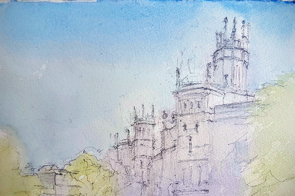 Watercolour painting of Plaza de Cibeles by Alexandra Sasse