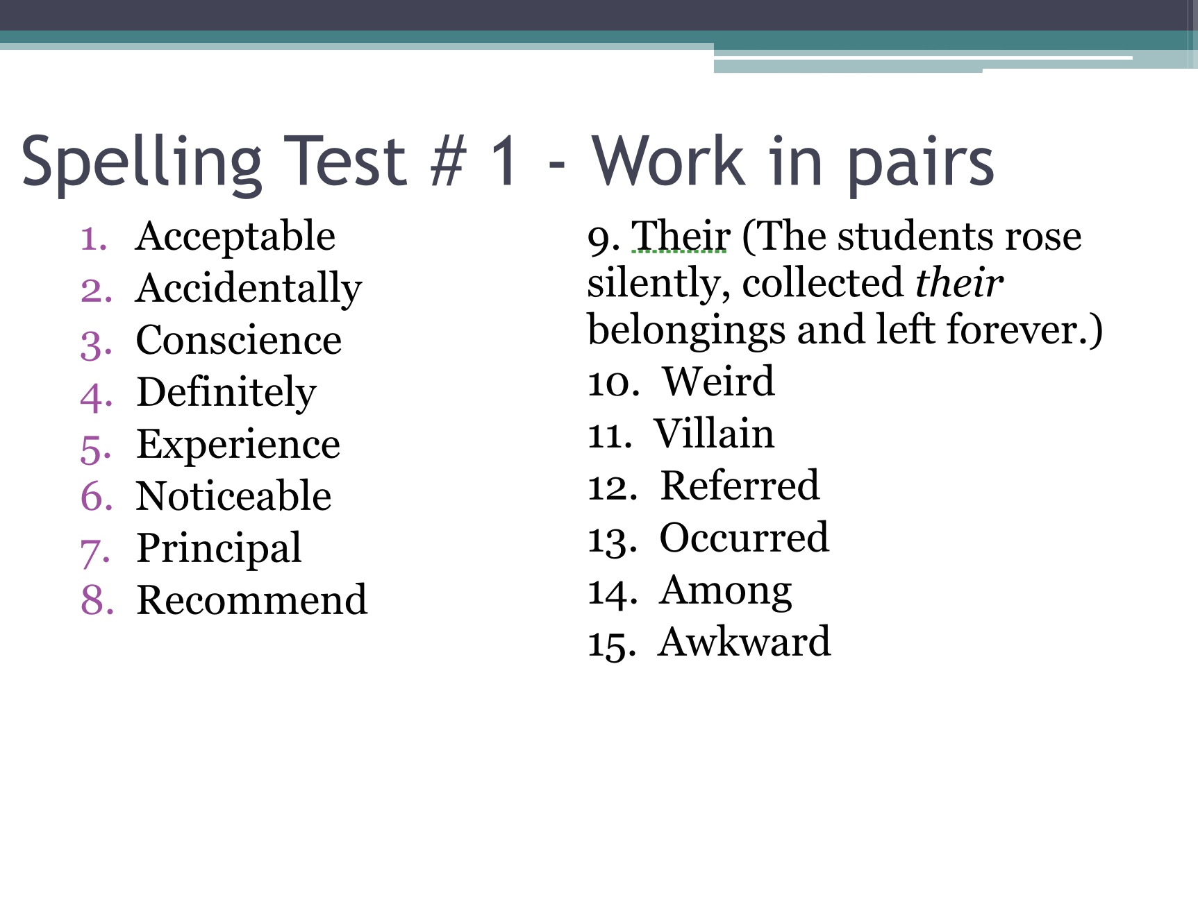 Formal Writing Powerpoint Spelling Test 1 Alexandrasorewa