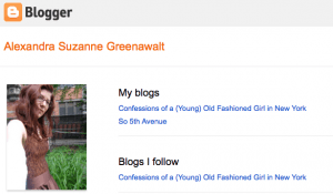 my old blogger profile as an old fashioned girl