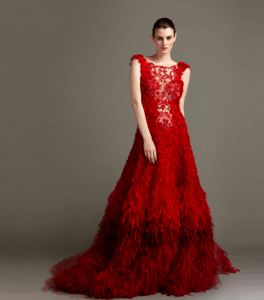 Red Gown by fabiola arias katie homes bobbi brown ad