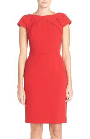 Adrianna Papell Pleat Detail Cap Sleeve Sheath Dress