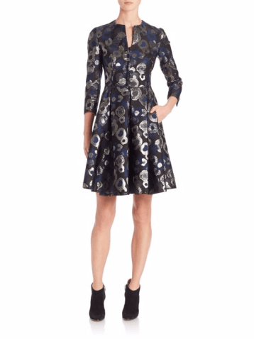 Lurex Jacquard A-Line Coat Dress